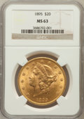Liberty Double Eagles: , 1895 $20 MS63 NGC. NGC Census: (3235/503). PCGS Population(1674/242). Mintage: 1,114,656. Numismedia Wsl. Price for proble...
