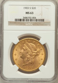 Liberty Double Eagles: , 1903-S $20 MS63 NGC. NGC Census: (1327/277). PCGS Population(1378/366). Mintage: 954,000. Numismedia Wsl. Price for proble...