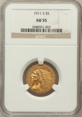 Indian Half Eagles: , 1911-S $5 AU55 NGC. NGC Census: (376/1747). PCGS Population(199/1143). Mintage: 1,416,000. Numismedia Wsl. Price for probl...