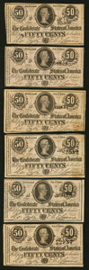Confederate Notes:1864 Issues, T72 50 Cents 1864 Six Examples.. ... (Total: 6 notes)