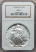 Modern Bullion Coins, (2)1994 $1 One Ounce Silver Eagle MS69 NGC.... (Total: 2 coins)