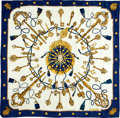 "Luxury Accessories:Accessories, Hermes White, Gold and Blue ""Les Cles"" by Caty Latham Silk Scarf...."