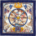 "Luxury Accessories:Accessories, Hermes Navy, Gold and Red ""Vive le Vent"" Silk Scarf. ..."
