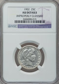 Barber Quarters: , 1902 25C -- Improperly Cleaned -- NGC Details. AU. NGC Census:(4/217). PCGS Population (13/289). Mintage: 12,197,744. Numi...