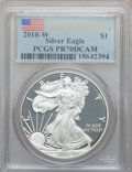 Modern Bullion Coins, 2010-W $1 One Ounce Silver American Eagle, First Strike PR70 DeepCameo PCGS. PCGS Population (15394). NGC Census: (0). (...