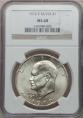 Eisenhower Dollars: , 1972-S $1 Silver MS68 NGC. NGC Census: (373/4). PCGS Population (1452/15). Mintage: 2,193,056. Numismedia Wsl. Price for pr...