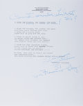 "Autographs:Authors, Tennessee Williams, American Author and Playwright. Typed PoemSigned ""Tennessee Williams"". San Francisco, circa 1981. F..."