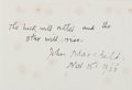 Autographs:Authors, John Masefield, British Author and Poet. Autograph Note Signed.Very good....