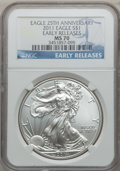 Modern Bullion Coins, 2011 $1 One Ounce Silver American Eagle, 25th Anniversary, EarlyReleases MS70 NGC. NGC Census: (50900). PCGS Population (3...