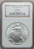 Modern Bullion Coins: , 1996 $1 Silver Eagle MS69 NGC. NGC Census: (83947/128). PCGSPopulation (4896/0). Mintage: 3,603,386. Numismedia Wsl. Price...