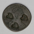 Counterstamps: , Counterstamped U.S.1803 Draped Bust Large Cent. Counterstamped with three hearts, each having the letters S.H in the center....