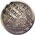 Counterstamps: , Counterstamped 1857 Seated Liberty Quarter With Dr. Shattuck's Water Cure, Waterford, Maine. The counterstamp is listed in t...