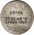 "Counterstamps: , Counterstamped 1854 With Arrows Seated Quarter, VF35 NGC. Counterstamped with (1878-1883) ""Drink Stoehr's Lager Bier."" Liste..."