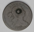 Counterstamps: , Counterstamped U.S. 1803 Draped Bust Large Cent, with a sun with rays. Similar to the counterstamps from Crab or Vieque Isla...