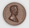 Lincoln: , Pair of Abraham Lincoln Medals. 1909 Lincoln Centennial Medal inCopper, VF. 50mm, plain edge. Obverse: portrait of Linc... (Total:2 medals)