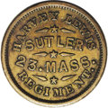 Civil War Merchants: , Harvey Lewis, Sutler Token, R.6. Issued for the 23rd MassachusettsRegiment and Good For 50 Cents in goods. Listed on page 4...