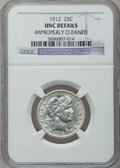 Barber Quarters: , 1912 25C -- Improperly Cleaned -- NGC Details. UNC. NGC Census:(2/305). PCGS Population (7/401). Mintage: 4,400,700. Numis...