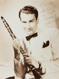 "Autographs:Celebrities, Artie Shaw, American musician, composer, and bandleader. Signed andInscribed Photograph. 2"" tear along one edge. Overall ve..."