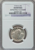 Standing Liberty Quarters: , 1918-D 25C -- Improperly Cleaned -- NGC Details. AU. NGC Census:(4/352). PCGS Population (25/548). Mintage: 7,380,000. Num...