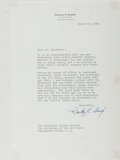 Autographs:Military Figures, Dudley Crawford Sharp, Secretary of the Air Force from 1959 to1961, under president Dwight D. Eisenhower. Typed Letter Signed...