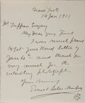 Autographs:Artists, Ernest Thompson Seton, Canadian-American Author and Illustrator.Autograph Letter Signed. Very good....