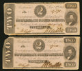 Confederate Notes:1862 Issues, T54 $2 1862 PF-11 Cr. 392 Two Examples.. ... (Total: 2 notes)
