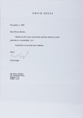 Autographs:Authors, Erich Segal, American Author. Typed Letter Signed. Very good....