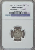 Seated Dimes: , 1853 10C No Arrows -- Improperly Cleaned -- NGC Details. Good. NGCCensus: (1/95). PCGS Population (2/117). Mintage: 95,000...