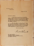 Autographs:U.S. Presidents, Franklin D. Roosevelt, 32nd President of the United States. TypedLetter Signed. On White House letter-head. Very good....