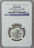 Standing Liberty Quarters, 1926-D 25C -- Improperly Cleaned -- NGC Details. AU. NGC Census:(4/2012). PCGS Population (6/3117). Mintage: 1,716,000...