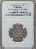 Seated Quarters: , 1873 25C Arrows -- Environmental Damage -- NGC Details. XF. NGCCensus: (7/204). PCGS Population (9/219). Mintage: 1,271,70...