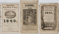 Books:Americana & American History, [Almanacs]. Group of Three 19th Century Almanacs. Various,1840-1841. Good or better condition....