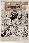 Original Comic Art:Splash Pages, Jerry Grandenetti 1st Issue Special #2 The Green Team: BoyMillionaires Splash Page 1 Original Art (DC, 1975)....