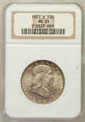 Franklin Half Dollars: , 1953-D 50C MS65 NGC. NGC Census: (392/7). PCGS Population (129/11).Mintage: 20,900,400. Numismedia Wsl. Price for problem ...