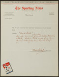 Baseball Collectibles:Others, Waite Hoyt Signed The Sporting News Questionnaire. ...