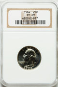 Proof Washington Quarters: , 1964 25C PR69 NGC. NGC Census: (1089/4). PCGS Population (1106/36).Mintage: 3,950,762. Numismedia Wsl. Price for problem f...