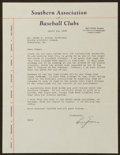 Baseball Collectibles:Others, 1943 Billy Evans Signed South Association ...