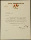 Baseball Collectibles:Others, 1934 Branch Rickey Signed Letter. ...