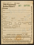 Baseball Collectibles:Others, 1940 Chief Bender Signed Pennsylvania Hunter's License. ...