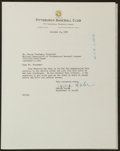 Baseball Collectibles:Others, 1955 George Sisler Signed Letter. ...