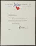 Baseball Collectibles:Others, 1956 Hank Greenberg Signed Indians Letter. ...