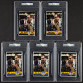 Basketball Collectibles:Photos, John Wooden Signed Oversized Cards Lot of 5 - PSA Authentic....