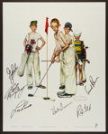 Golf Collectibles:Autographs, Arnold Palmer and others Multi Signed Norman Rockwell OversizedGolf Print....