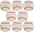 Baseball Collectibles:Balls, Hall of Famers Single Signed Baseballs Ferrell Doerr With Inscriptions - Lot of 8....