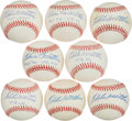 Baseball Collectibles:Balls, Eddie Mathews Single Signed Baseball With Inscriptions - Lot of 8....