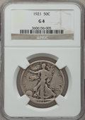 Walking Liberty Half Dollars: , 1921 50C Good 4 NGC. NGC Census: (108/694). PCGS Population(165/1168). Mintage: 246,000. Numismedia Wsl. Price for problem...