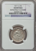 Seated Quarters: , 1877-S 25C -- Improperly Cleaned -- NGC Details. AU. NGC Census:(4/296). PCGS Population (17/327). Mintage: 8,996,000. Num...