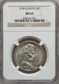 Commemorative Silver: , 1918 50C Lincoln MS63 NGC. NGC Census: (583/3174). PCGS Population(1359/3985). Mintage: 100,058. (#9320)...
