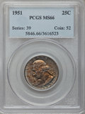 Washington Quarters: , 1951 25C MS66 PCGS. PCGS Population (599/44). NGC Census:(590/199). Mintage: 43,505,600. Numismedia Wsl. Price forproblem...