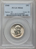 Washington Quarters: , 1940 25C MS66 PCGS. PCGS Population (615/97). NGC Census:(478/158). Mintage: 35,715,248. Numismedia Wsl. Price forproblem...